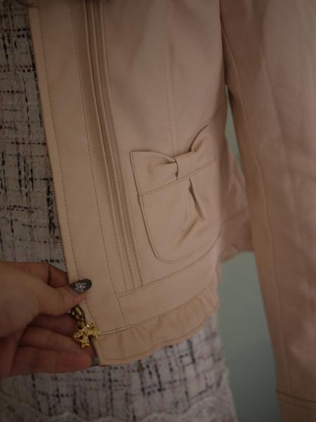 LODISPOTTO 連帽蝴蝶結口袋皮衣外套