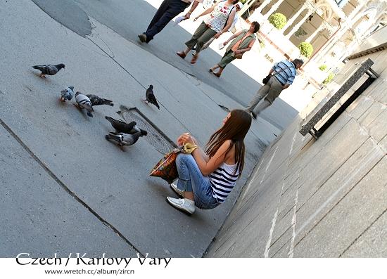 路邊的女孩與鳥