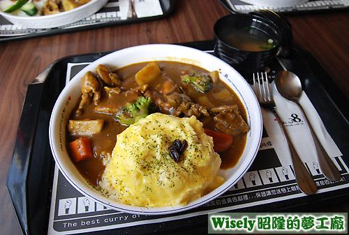 日式甜味嫩雞起士蛋咖哩飯
