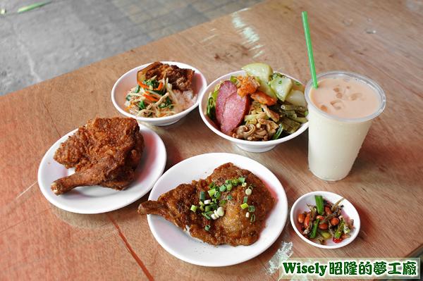 炸雞腿、滷排骨、辣花生魚乾、爌肉飯、菜蓋飯、鮮奶茶
