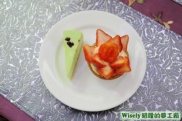 薄荷蛋糕、草莓塔