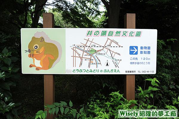 井の頭自然文化園(動物園/彫刻園)指示牌