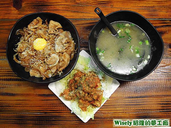 薑汁燒肉蓋飯、招牌油淋雞、海帶湯