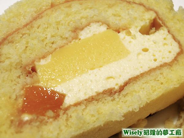 香草奶凍蛋糕(百香果幕斯/芒果奶凍/芒果丁)