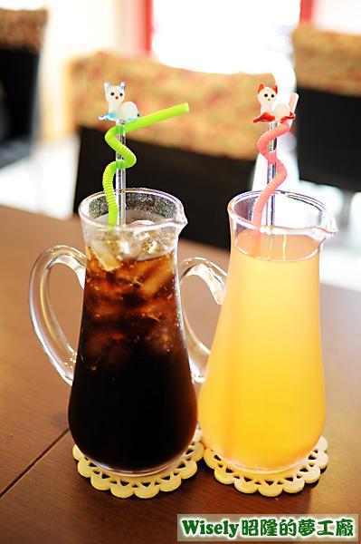 可樂、水果茶