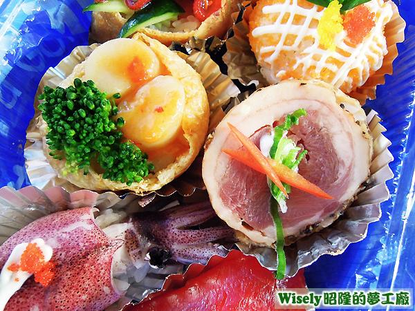 干貝壽司、櫻桃鴨壽司