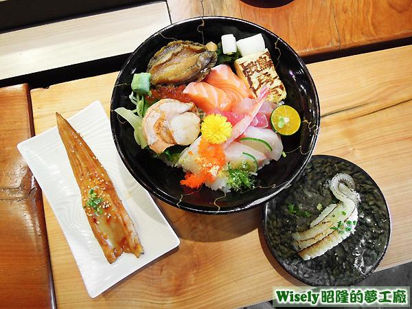 星鰻握壽司、生魚片丼飯、炙燒比目魚鰭邊肉握壽司