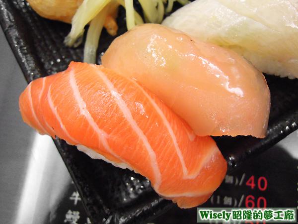 鮭魚握壽司、旗魚握壽司