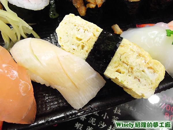 海鱺握壽司、煎蛋握壽司