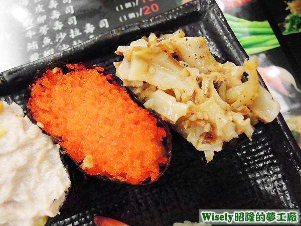 蝦卵軍艦壽司、干貝唇軍艦壽司