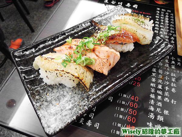 炙壽司(比目魚炙壽司/鮭魚炙壽司/鰻魚炙壽司/花枝炙壽司)