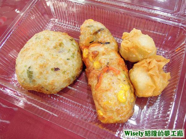 起士章魚天婦羅、天婦羅五目綜合條、奶油馬鈴薯燒賣