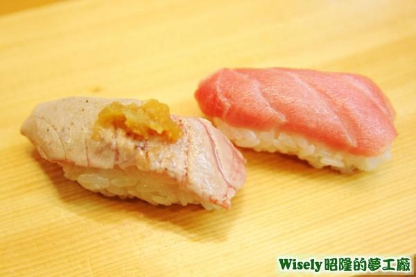 本まぐろ焙り大とろ(炙燒鮪魚握壽司)、本まぐろ大とろ(鮪魚握壽司)