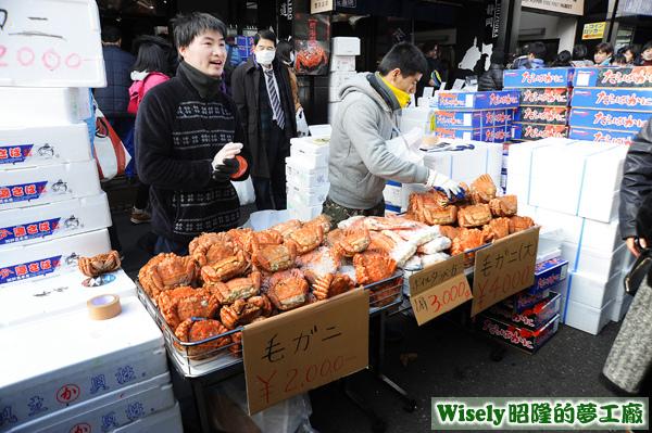 販賣毛蟹(毛ガニ)攤位