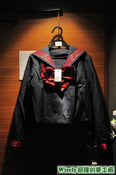 藍色紅邊長袖水手服(セーラー服)(M)
