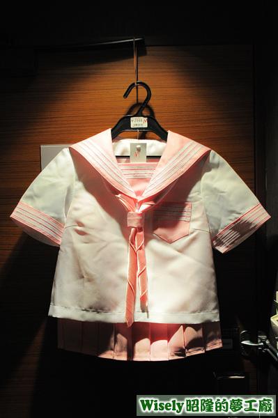白色粉邊短袖水手服(セーラー服)(M)