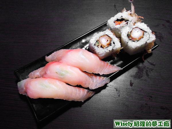 生魚握壽司、炸蝦壽司