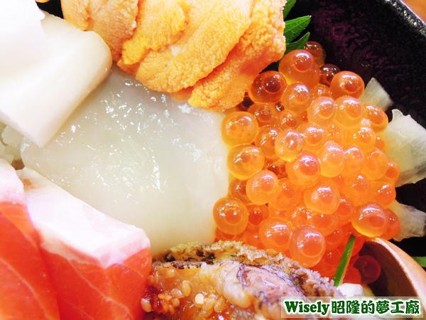 干貝、鮭魚卵