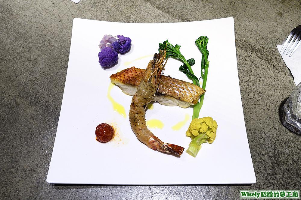 長尾濱鯛、茶美豬裹明蝦