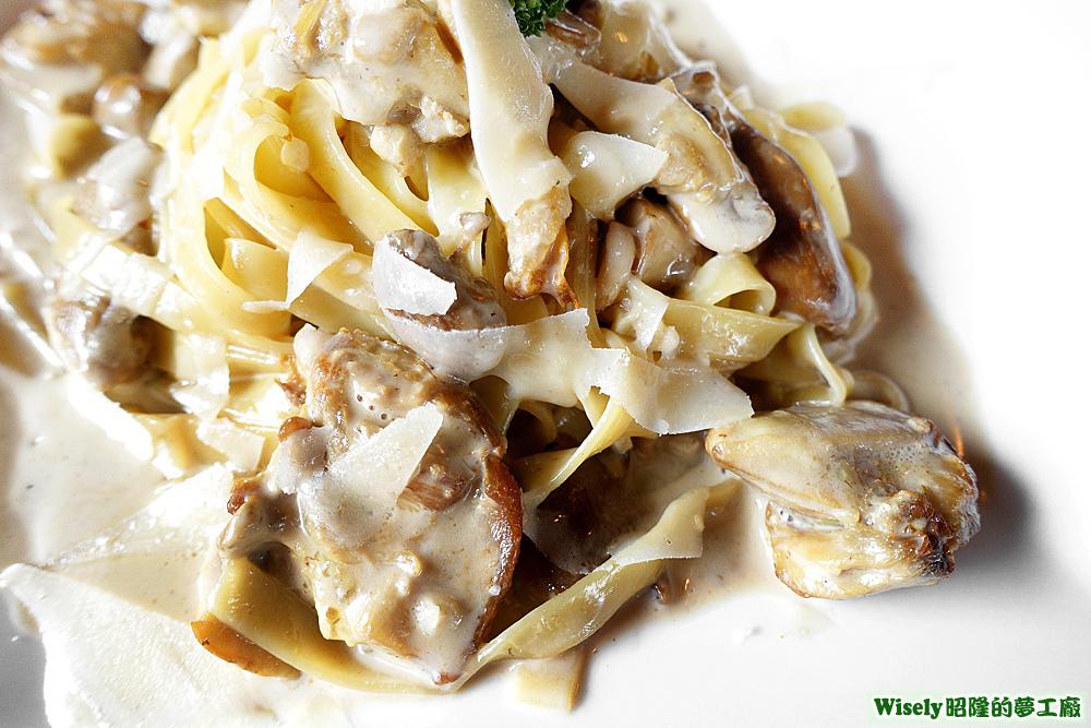 奶油牛肝菌雞肉鳥巢麵Fettuccine ai porcini