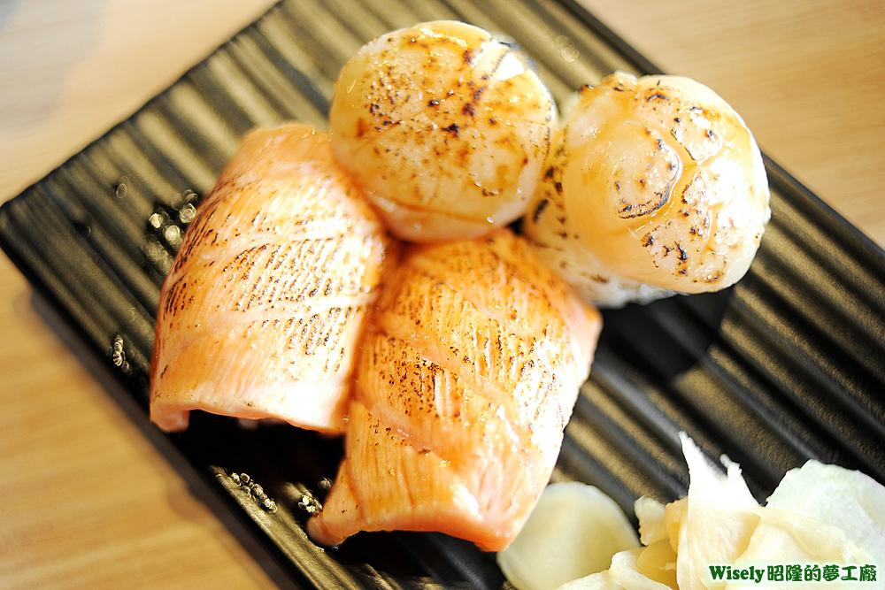 鮭魚炙壽司、干貝炙壽司
