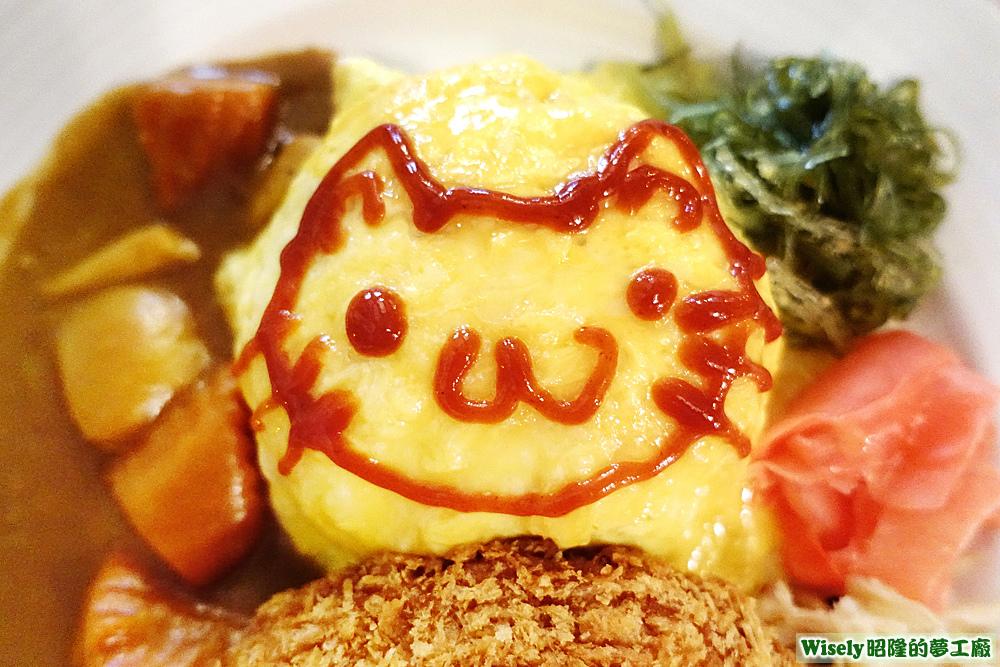 若菜用蕃茄醬畫的貓咪