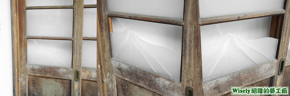 衡道館的木門玻璃破裂