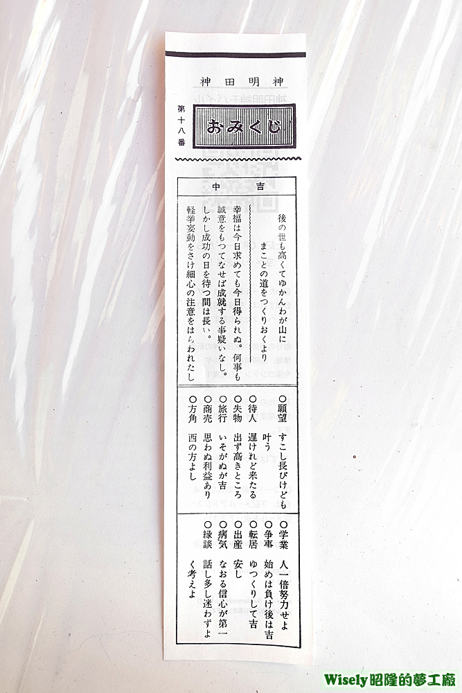 神田明神おみくじ第十八番(中吉)