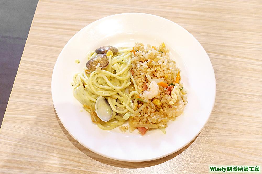 青醬蛤蜊義大利麵、什錦炒飯