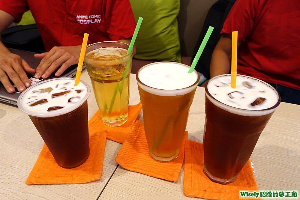 紅茶、水果醋、綠茶
