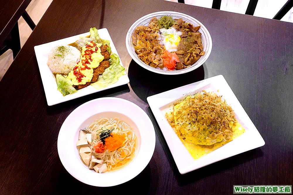烘蛋豬排咖哩、魚子清雞湯麵、極上雙燒丼、大阪和風炒麵(玉子海貝)