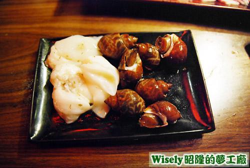 味噌漫波魚片、胡椒鳳螺