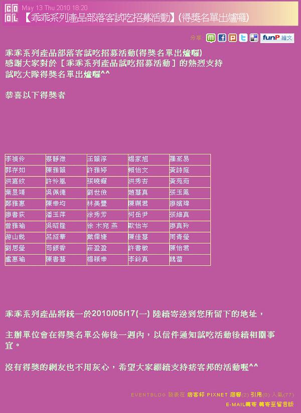 乖乖系列產品部落客試吃招募活動得獎名單網頁