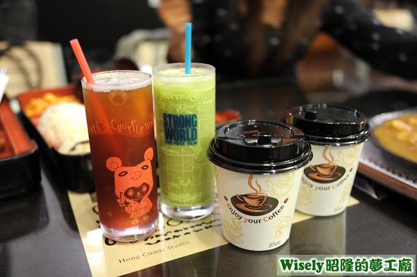 檸檬紅茶(冰)、抹茶奶綠(冰)、抹茶奶綠(熱)、嚴選奶茶(熱)