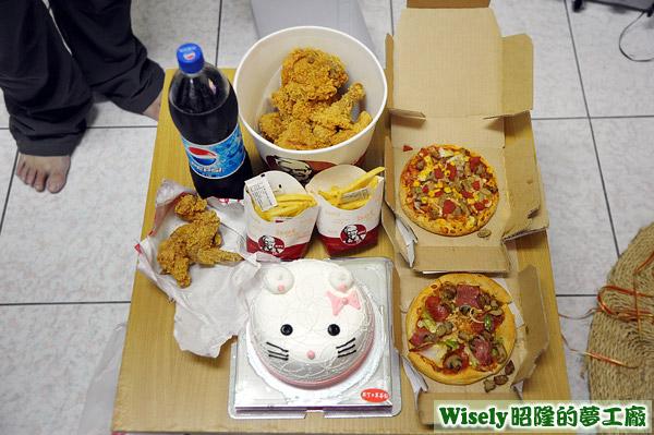麥仕佳蛋糕、肯德基炸雞餐、達美樂披薩
