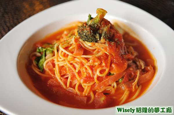蕃茄火腿香菇麵(細麵)