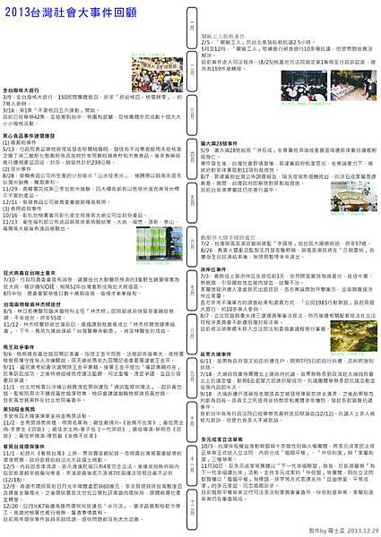 2013年台灣社會大事件回顧