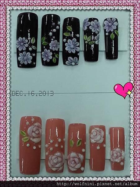 「美甲就業班」第八天-粉雕 雛菊與玫瑰花