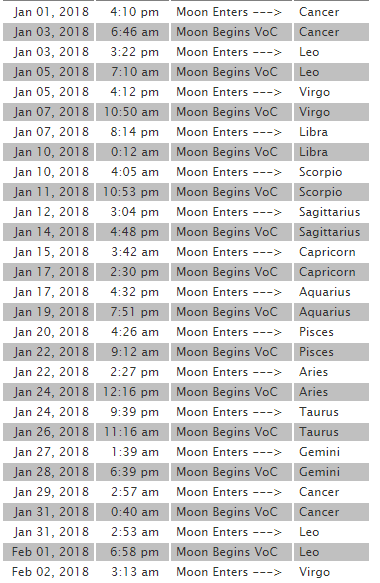 2018 1月 月空
