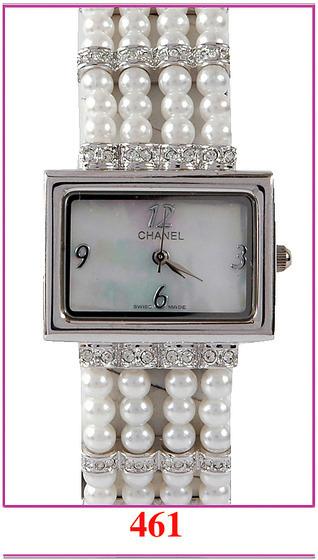 Chanel香奈兒 珍珠鏈鑲鑽女士休閒表.jpg