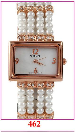 Chanel香奈兒 珍珠鏈鑲鑽女士休閒表  1.jpg