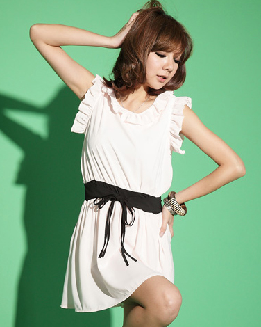 [00664]熱賣 雪紡紗 荷葉邊 連身裙 -2色 淺粉、綠色