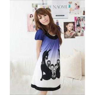 [91001]黑貓印花渲染洋裝-藍色