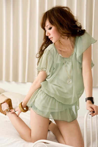 [00268]輕柔 質感 荷葉袖 雪紡 上衣 -黑色.白色.淡綠