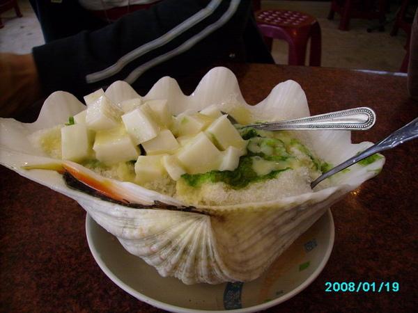 綠草豆腐牛奶冰(特寫)