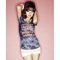 [00584]扎染55印花兩件套T恤-3色 - 藍 & 紅 & 可可