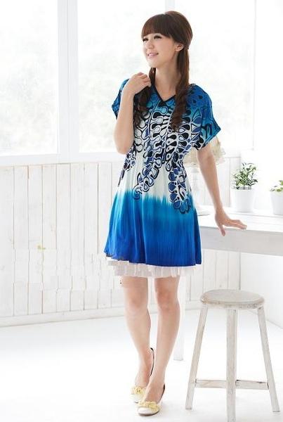 [00415]時尚 流行 花樣 洋裝 -藍色