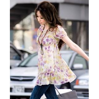 [00171]淑女時尚雪紡露肩上衣-紫色