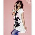 [00602]蝴蝶粉紅女郎長版T恤-2色 -白色 & 黑色