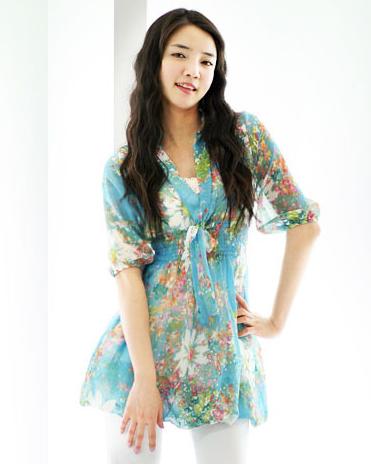 [00627]高檔 雪紡紗 印花 高腰 洋裝